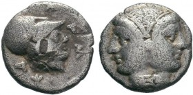 MYSIA. Lampsakos. Obol (4th century BC). Obv: Janiform female head. Rev: Helmeted head of Athena right within incuse circle. SNG BN -; cf. Weber 5107 ...