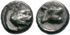 CILICIA, Mallos. 385-333 BC. AR Obol . Astragalos / Swan left with open wings. SNG Levante 165 ; SNG France 385; BMC Lycaonia -; SNG Copenhagen Supp. ...