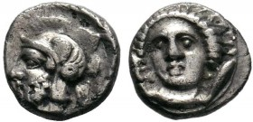 Cilicia, Tarsos AR Obol. Time of Pharnabazos and Datames, circa 384-361 BC. Female head (Arethusa?) facing slightly left, flanked by two dolphins / He...