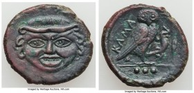 SICILY. Camarina. Ca. 420-405 BC. AE tetras or trias (18mm, 3.74 gm, 4h). XF, tooled. Litra standard. Head of Gorgoneion facing, baring upper row of t...