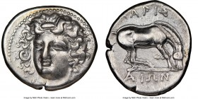 THESSALY. Larissa. 4th century BC. AR drachm (20mm, 9h). NGC XF. Head of nymph Larissa facing, turned slightly left, hair in sphendone / ΛAPIΣ / AIΩN,...
