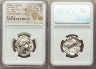 ATTICA. Athens. Ca. 440-404 BC. AR tetradrachm (25mm, 17.19 gm, 1h). NGC Choice AU S 5/5 - 5/5. Mid-mass coinage issue. Head of Athena right, wearing ...