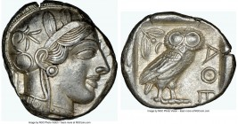 ATTICA. Athens. Ca. 440-404 BC. AR tetradrachm (24mm, 17.19 gm, 10h). NGC Choice AU 5/5 - 5/5. Mid-mass coinage issue. Head of Athena right, wearing c...