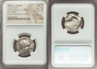 ATTICA. Athens. Ca. 440-404 BC. AR tetradrachm (23mm, 17.20 gm, 7h). NGC AU 5/5 - 5/5, Full Crest. Mid-mass coinage issue. Head of Athena right, weari...