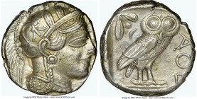 ATTICA. Athens. Ca. 440-404 BC. AR tetradrachm (24mm, 17.23 gm, 12h). NGC AU 4/5 - 4/5. Mid-mass coinage issue. Head of Athena right, wearing crested ...