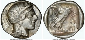 ATTICA. Athens. Ca. 440-404 BC. AR tetradrachm (26mm, 17.20 gm, 12h). NGC AU 4/5 - 4/5. Mid-mass coinage issue. Head of Athena right, wearing crested ...