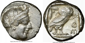 ATTICA. Athens. Ca. 440-404 BC. AR tetradrachm (24mm, 17.18 gm, 4h). NGC Choice XF 4/5 - 4/5. Mid-mass coinage issue. Head of Athena right, wearing cr...