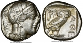 ATTICA. Athens. Ca. 440-404 BC. AR tetradrachm (24mm, 17.18 gm, 7h). NGC Choice XF 4/5 - 4/5. Mid-mass coinage issue. Head of Athena right, wearing cr...