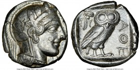 ATTICA. Athens. Ca. 440-404 BC. AR tetradrachm (23mm, 17.18 gm, 3h). NGC Choice XF 5/5 - 4/5, brushed. Mid-mass coinage issue. Head of Athena right, w...