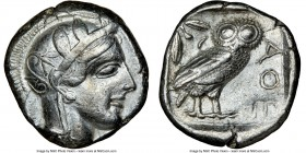 ATTICA. Athens. Ca. 440-404 BC. AR tetradrachm (24mm, 17.17 gm, 7h). NGC XF 5/5 - 3/5. Mid-mass coinage issue. Head of Athena right, wearing crested A...