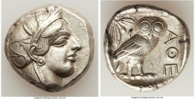 ATTICA. Athens. Ca. 440-404 BC. AR tetradrachm (24mm, 17.18 gm, 4h). XF. Mid-mass coinage issue. Head of Athena right, wearing crested Attic helmet or...