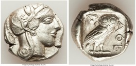 ATTICA. Athens. Ca. 440-404 BC. AR tetradrachm (24mm, 17.14 gm, 5h). XF. Mid-mass coinage issue. Head of Athena right, wearing crested Attic helmet or...
