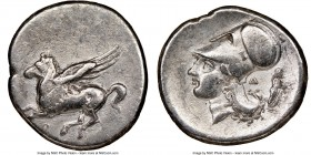 CORINTHIA. Corinth. 4th century BC. AR stater (23mm, 8.10 gm, 4h). NGC VF. Ca. 345-307 BC. Pegasus flying left; Ϙ below / Head of Athena left, wearing...