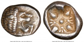 IONIA. Miletus. Ca. late 6th-5th centuries BC. AR 1/12 stater or obol (9mm). NGC XF. Milesian standard. Forepart of roaring lion left, head reverted /...