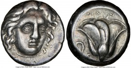 CARIAN ISLANDS. Rhodes. Ca. 305-275 BC. AR didrachm (18mm, 12h). NGC VF. Head of Helios facing, turned slightly right, hair parted in center and swept...