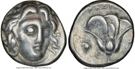CARIAN ISLANDS. Rhodes. Ca. 305-275 BC. AR didrachm (18mm, 1h). NGC VF. Head of Helios facing, turned slightly right, hair parted in center and swept ...