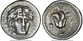 CARIAN ISLANDS. Rhodes. Ca. 250-230 BC. AR didrachm (20mm, 12h). NGC Choice VF. Timotheus, magistrate. Radiate head of Helios facing, turned slightly ...