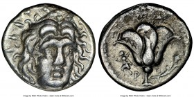 CARIAN ISLANDS. Rhodes. Ca. 250-230 BC. AR didrachm (19mm, 12h). NGC VF. Agesidamus, magistrate, ca. 250-229 BC. Radiate Head of Helios facing, turned...