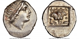 CARIAN ISLANDS. Rhodes. Ca. 88-84 BC. AR drachm (17mm, 12h). NGC Choice AU. Plinthophoric standard, Philon, magistrate. Radiate head of Helios right /...