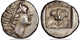 CARIAN ISLANDS. Rhodes. Ca. 88-84 BC. AR drachm (14mm, 1h). NGC AU. Plinthophoric standard, Zenon, magistrate. Radiate head of Helios right / ZHNΩN, r...