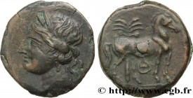 ZEUGITANA - CARTHAGE Type : Triple shekel  Date : c. 220-215 AC.  Mint name / Town : Carthage, Zeugitane  Metal : copper  Diameter : 31  mm Orientatio...