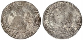 Austria Holy Roman Empire 1 Guldentaler 60 Kreuzer 1562 Hall. Ferdinand I (1521-1564). A.: Crowned and armored half-length bust right holding scepter ...