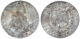 Austria Holy Roman Empire 1 Thaler (1564-1595) Hall. Type Rare. Ferdinand Archduke of Austria. Av.: Crowned and armored bust right holding sword and s...