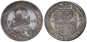 Austria Holy Roman Empire 1 Thaler 1615 Hall. Archduke Maximilian (1612-1618). Av.:Bearded armored bust r. in ruff divides date. Rv.: Archducal crown ...
