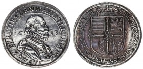 Austria Holy Roman Empire 1 Thaler 1618 Hall. Maximilian III(1602-1618). Av.:Armored bust r. in ruff within dotted circle. Rv.: Quartered Arms with Cr...