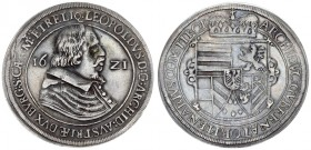 Austria Holy Roman Empire 1 Thaler 1621 Hall. Leopold V. Archduke (1619-1632). Av.:Bust right; date across field. Rv: Crowned coat-of-arms. Silver. Mo...