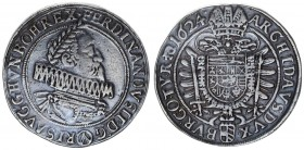 Austria Holy Roman Empire 1 Thaler 1624 Vienna. Ferdinand II (1619-1637). Av.: Laureate and cuirassed bust right.Older bust. Rev. Crowned double-heade...