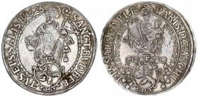 Austria Holy Roman Empire Salzburg 1 Thaler 1628/6. Paris Graf Lodron (1619-1653). Averse: Madonna above shield of arms. Reverse: St. Rupert standing ...