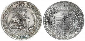 Austria Holy Roman Empire 1 Thaler 1632 Hall. Archduke Leopold V(1619-1632). Averse: Crowned 1/2-length figure right with scepter and sword. Averse Le...