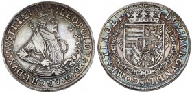 Austria Holy Roman Empire 1 Thaler 1632 Hall. Leopold V (1619-1632). Av.:Laureate half-length armored figure r. holding scepter in circle. Rv. Crowned...
