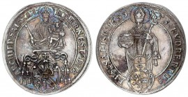 Austria Holy Roman Empire 1/4 Thaler 1695 Salzburg. Johann Ernst (1687 - 1709). Obverse: Madonna and Child above shield of arms in inner circle. Rever...