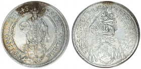 Austria Holy Roman Empire Salzburg 1 Thaler 1643. Paris Graf Lodron (1619-1653). Averse: Madonna above shield of arms. Reverse: St. Rupert standing fa...