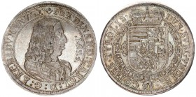 Austria Holy Roman Empire 1 Thaler 1654 Hall. Ferdinand Karl Archduke of Austria (1646-1662). Av: Bust to the right an inscription around. Rv: Heraldi...