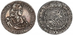 Austria Holy Roman Empire 1 Thaler 1665 Hall. Archduke Sigismund Franz (1662-65). Av.: Bust right. Rv.: Crowned coat-of-arms within Collar of the Orde...