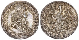 Austria Holy Roman Empire 2 Taler ND (struck 1680) Hall Mint. Leopold I (1658-1705); (the Hogmouth). Av.: Laureate draped head and armored bust right....