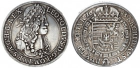 Austria Holy Roman Empire 1 Thaler 1683 Hall. Leopold I (1657-1705). Large armored laureate bust r. in circle of dots. Rv. Crowned 8-fold Arms with Ti...