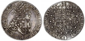 Austria Holy Roman Empire 1 Thaler 1694 Hall. Leopold I (1657-1705). Large armored laureate bust r. in circle of dots. Rv. Crowned 8-fold Arms with Ti...