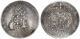 Austria Holy Roman Empire 1 Thaler 1695 Hall. Leopold I (1657-1705). Large armored laureate bust r. in circle of dots. Rv. Crowned 8-fold Arms with Ti...