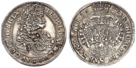 Austria Holy Roman Empire Hungary 1/2 Taler 1697 K B. Kremnitz. Leopold I (1658-1705). . Av.: Laureated bust of the emperor to the right. Rev.: Crowne...
