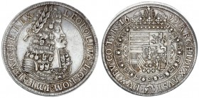 Austria Holy Roman Empire 1 Thaler 1699 Hall. Leopold I (1657-1705). Obverse: Old laureate bust right in inner circle. Obverse Legend: LEOPOLDVS D: G:...