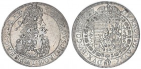 Austria Holy Roman Empire 1 Thaler 1701 Hall. Leopold I (1657-1705). Large armored laureate bust r. in circle of dots. Rv. Crowned 8-fold Arms with Ti...