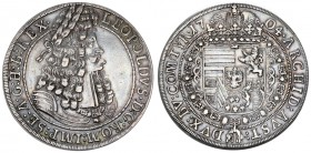 Austria Holy Roman Empire 1 Thaler 1704 Hall. Leopold I (1657-1705). Obverse: Old laureate bust right in inner circle. Obverse Legend: LEOPOLDVS D: G:...