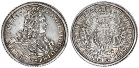 Austria Holy Roman Empire 1 Thaler 1714 Breslau. Charles VI(1711-1740). Av.: Laureate and draped bust right. Rev.: Crowned doubleheaded eagle on its c...