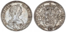 Austria Holy Roman Empire 1/4 Thaler 1745 Hall. Maria Theresia (1740-1780) Obverse: Draped bust right. Obverse Legend: MARIA THERESIA D: G REG HUNG BO...