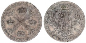 Austrian Netherlands 1 Kronenthaler 1775(b) Maria Theresia(1740-1780). Averse: 4 crowns in the angles of a floriated St. Andrew's cross. Averse Legend...