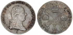 Austria Holy Roman Empire Austrian Netherlands 1 Kronenthaler 1792 H Gunzburg. Leopold II (1790-1792). Averse: Head right. Reverse: Floriated cross wi...